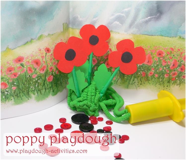 Poppies in playdough activity idea
