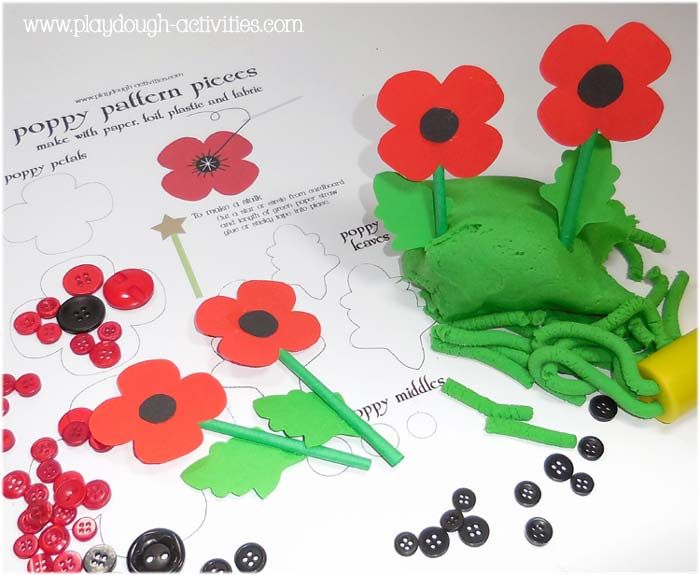 Poppy patterns to make paper and felt decorations