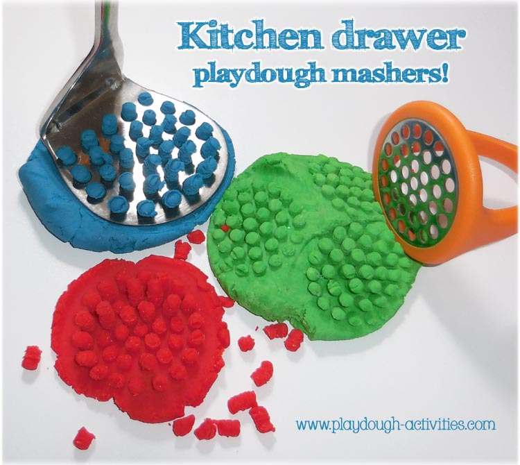 Playdough activities using potato masher tools from the kitchen drawer