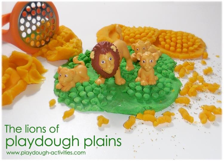 Playdough animals - Lions on African plains