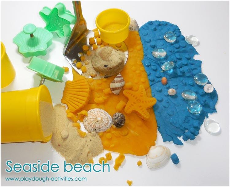 Seaside beach playdough activity using potato mashers to build the environment