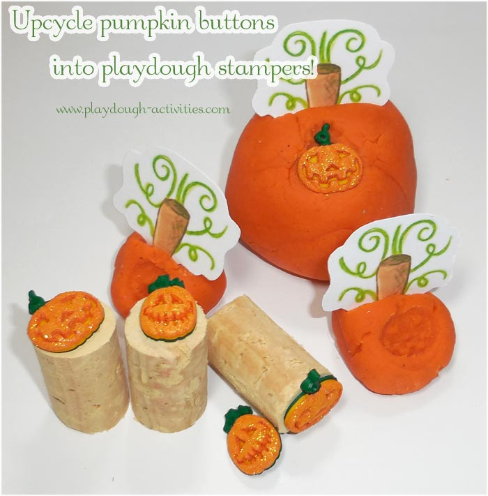 Halloween pumpkin activities, upcycling buttons into playdough stampers