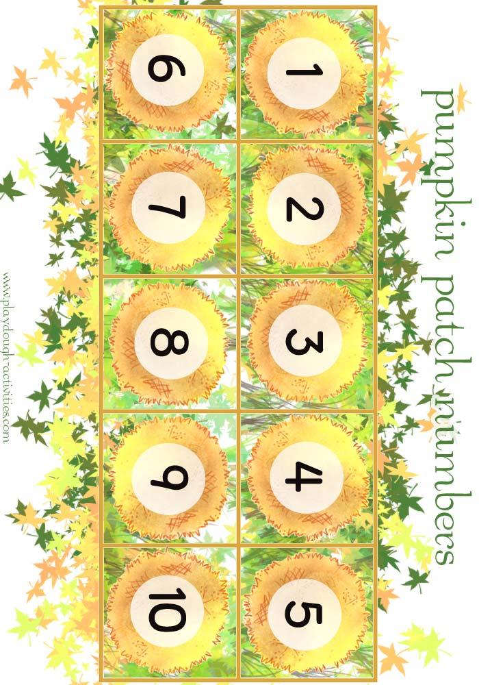1-10 pumpkin playdough game board