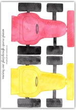 Red and yellow racing car playdough game pieces