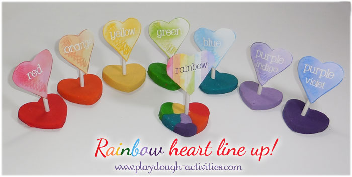 Rainbow of colour named playdough hearts