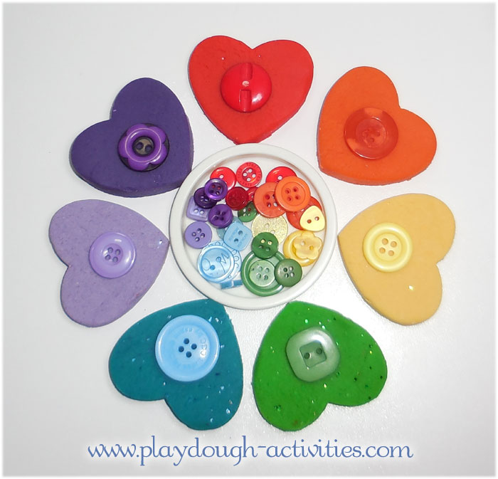 Circle of heart shaped rainbow playdough