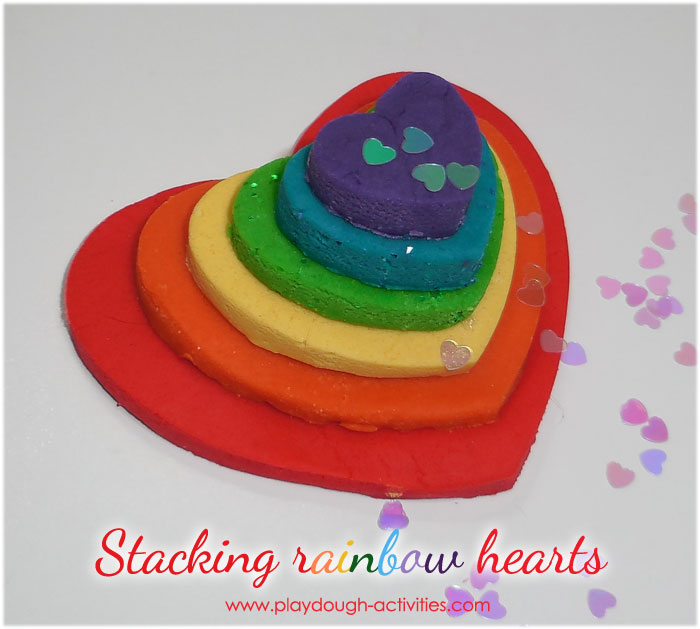 sized arranged stack of rainbow playdough heats