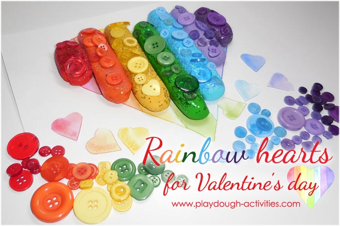 Rainbow coloured playdough with button surface patterns