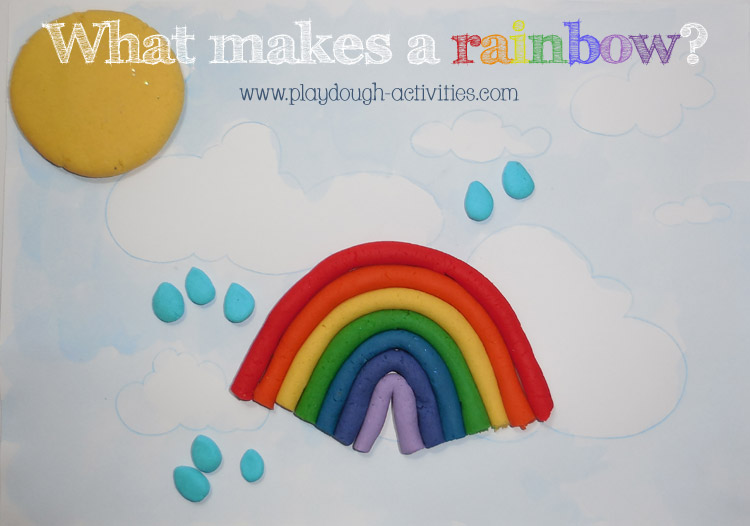 Rainbow playdough picture featuring the sky, sun and rain