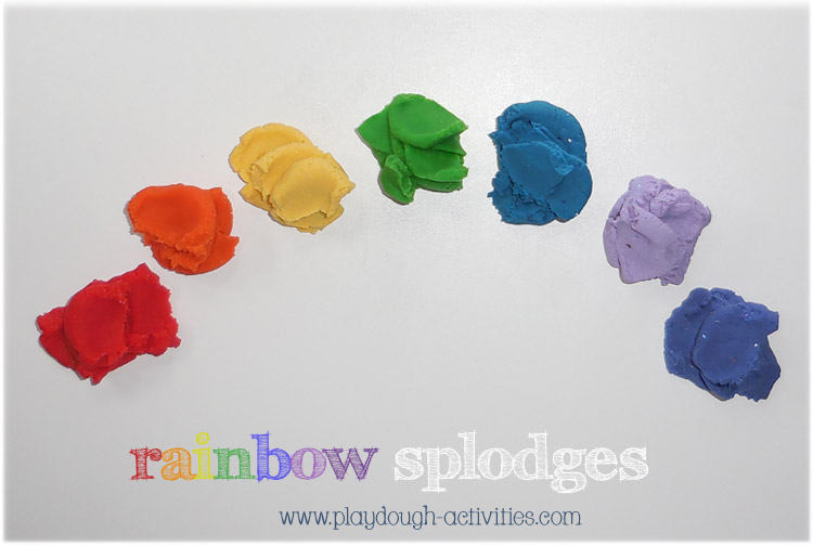 rainbow arched playdough splodges