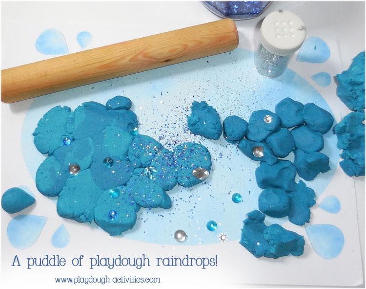 Playdough ideas - create mosaics with modelled raindrops