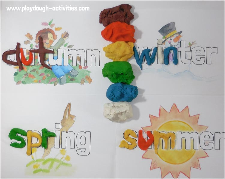 Playdough seasons - outline letter word formation activity sheets