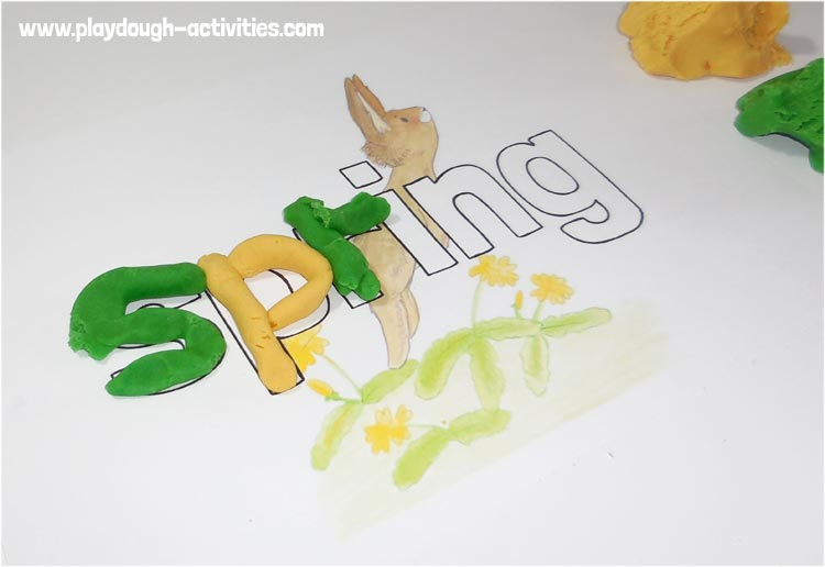Spring time themed playdough writing word and letter activity sheet