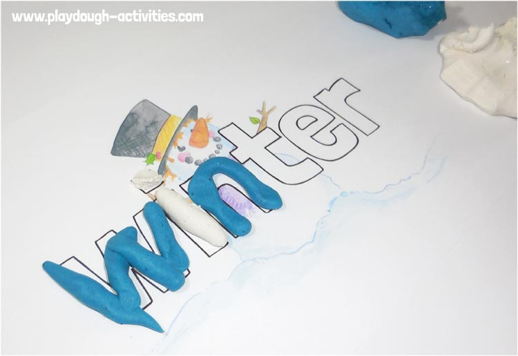 playdough word and letter practice sheet - winter