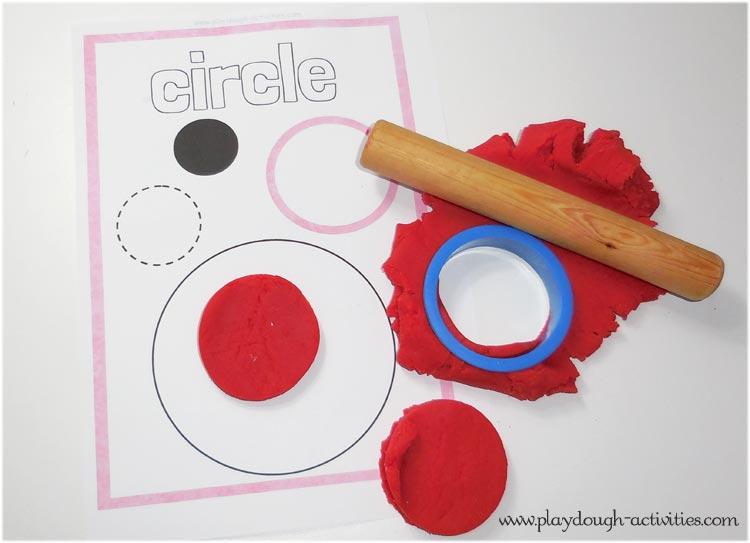 Circle playdough activities using laminated dough mats