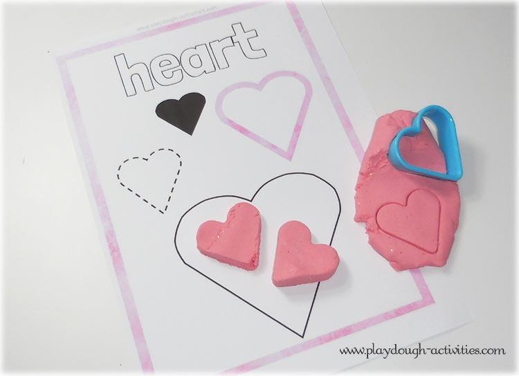Heart shape playdough mat activities