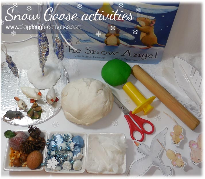 Snow goose and mice playdough puppet play