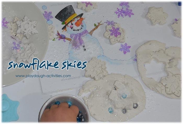 How to make shiny snowflake playdough activity