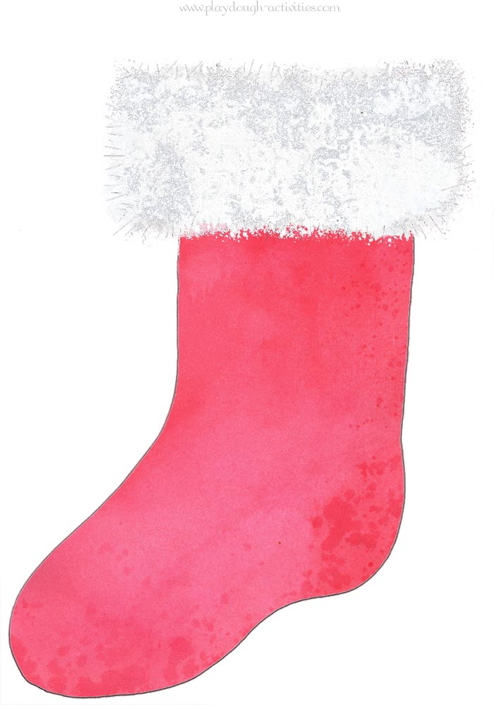 Red Christmas stocking playdough mat