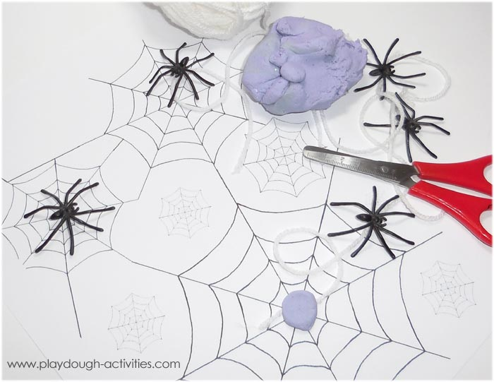 Spider web playdough and thread cutting activities