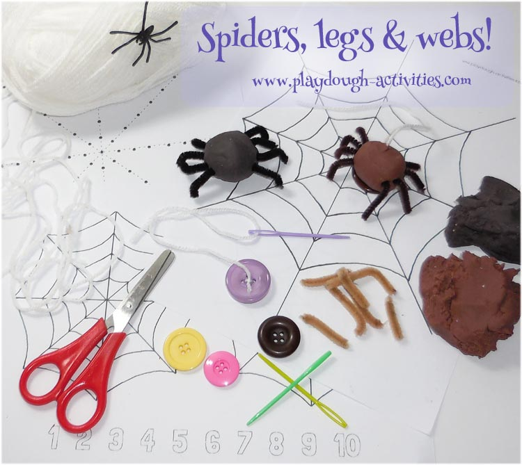 Spider webs and playdough activities