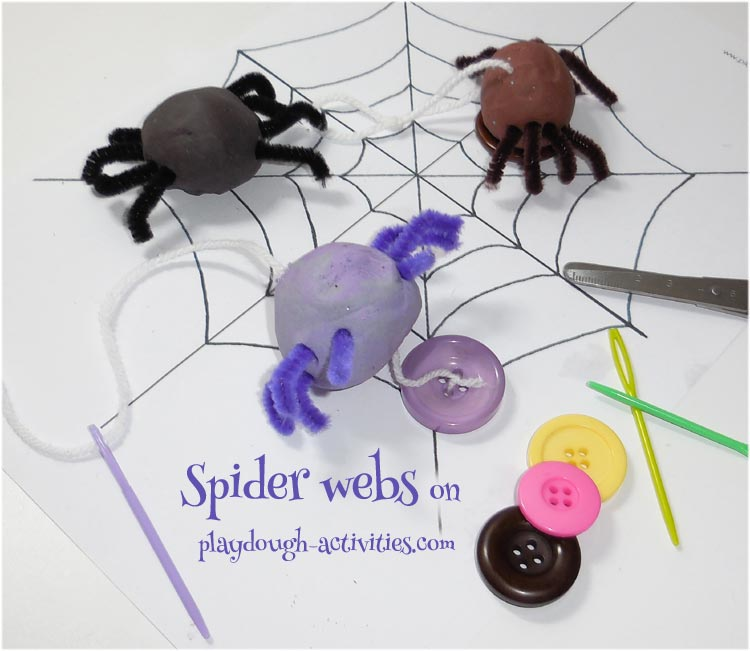 Playdough threading and spider web activity ideas