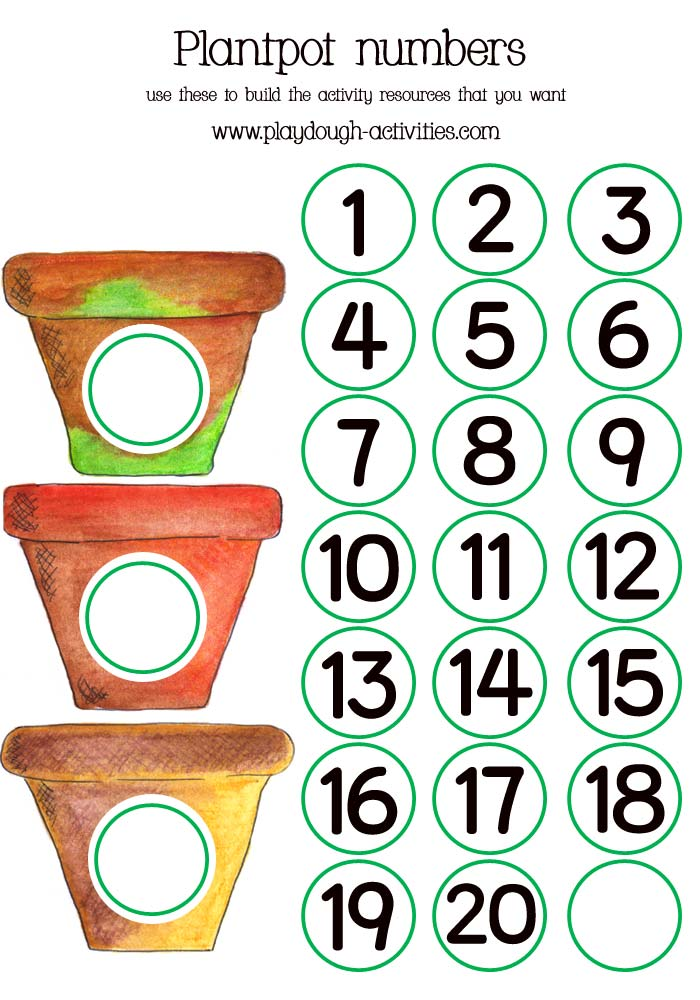 photograph about Preschool Maths Activities Printable identify Plant pot numbered preschool maths game printable