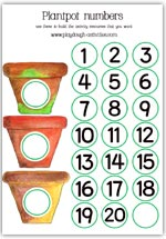 Plant pots and numbered discs to personalise your preschool maths resources