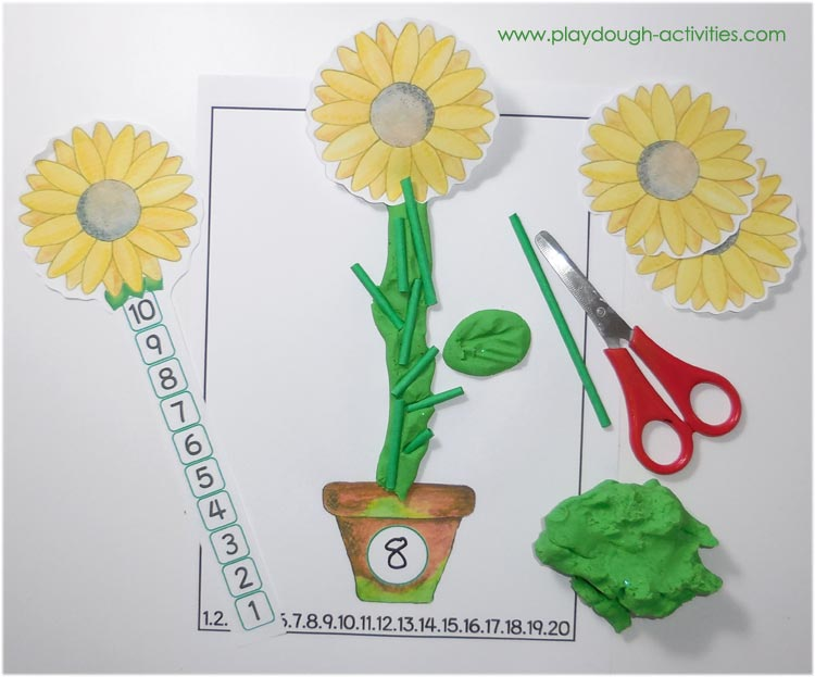 Sunflower playdough counting maths activity for preschool early years children