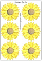 6 small sunflower heads to count and decorate playdough