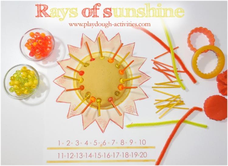 Summer sun playdough activity - rays of sunshine