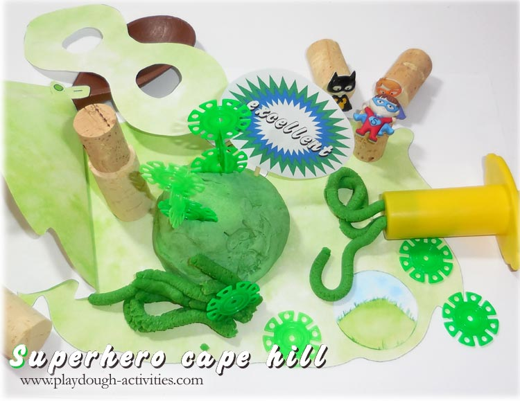 Green playdough superhero mat - cape hill rescue missions