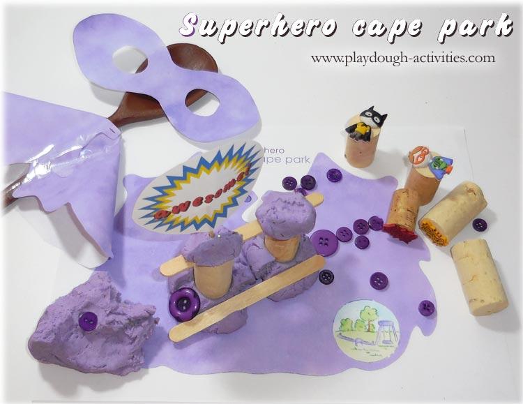 Superhero playdough mat - purple cape park