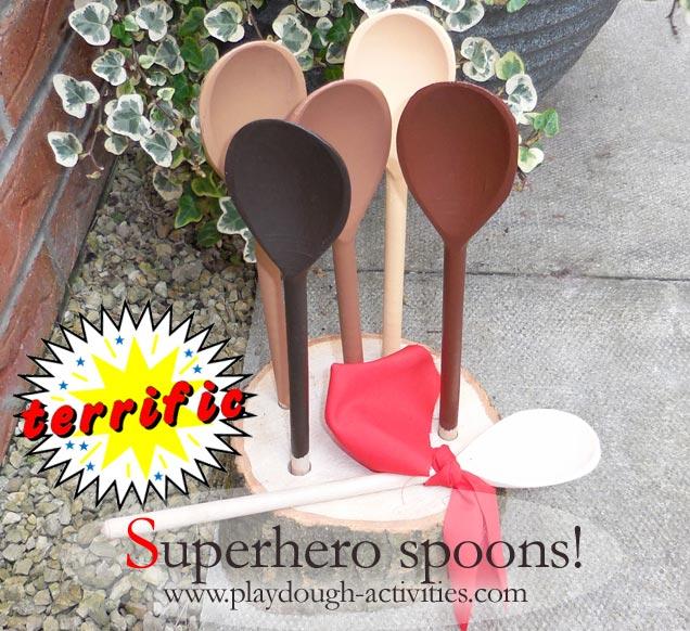 Superhero spoon puppets