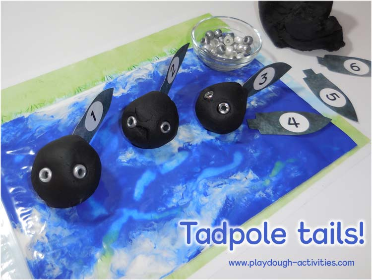 Poke tail pictures into playdough and make a pond full of tadpoles