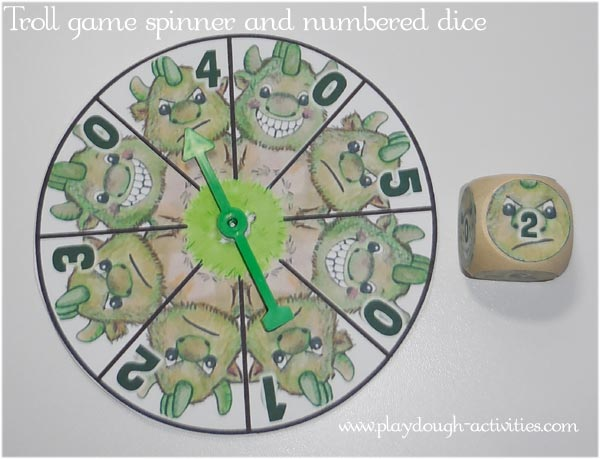 Make a probability spinner or numbered dice to control your Troll and Goat gaming