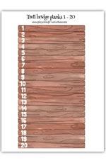 Numbered wood bridge planks 1 - 20