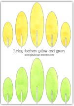 Yellow and green feather templates