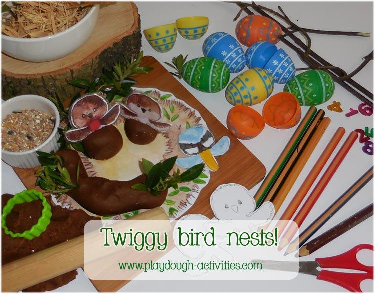 Playdough bird nest activity for the spring