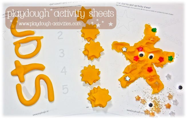 Prinatable playdough activity sheets to support young children's learning