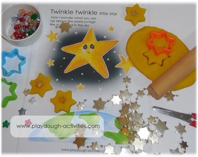 Cut stars from dough, decorate with shiny beads and sing-song with the rhyme