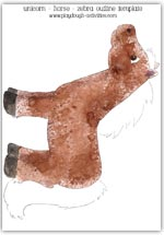 Brown horse template printable - left side