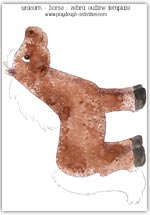 Brown horse printable picture - right side