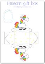Unicorn gift box template printable