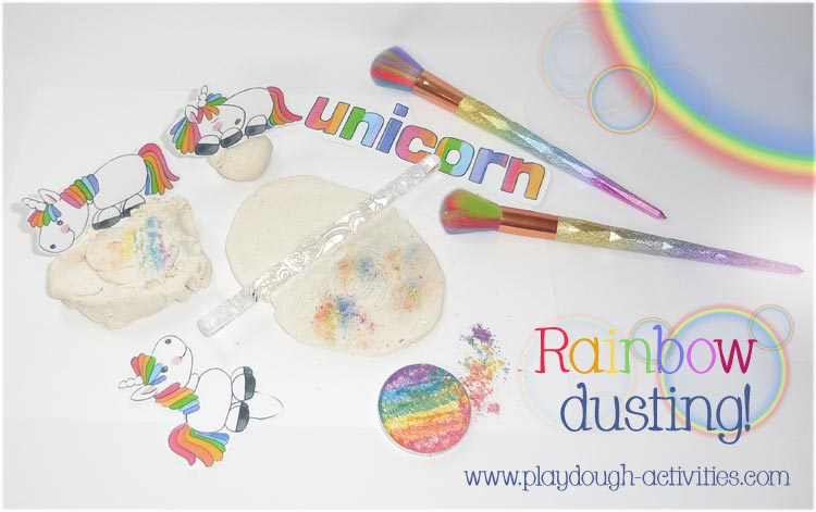 Rainbow dusting playdough activity