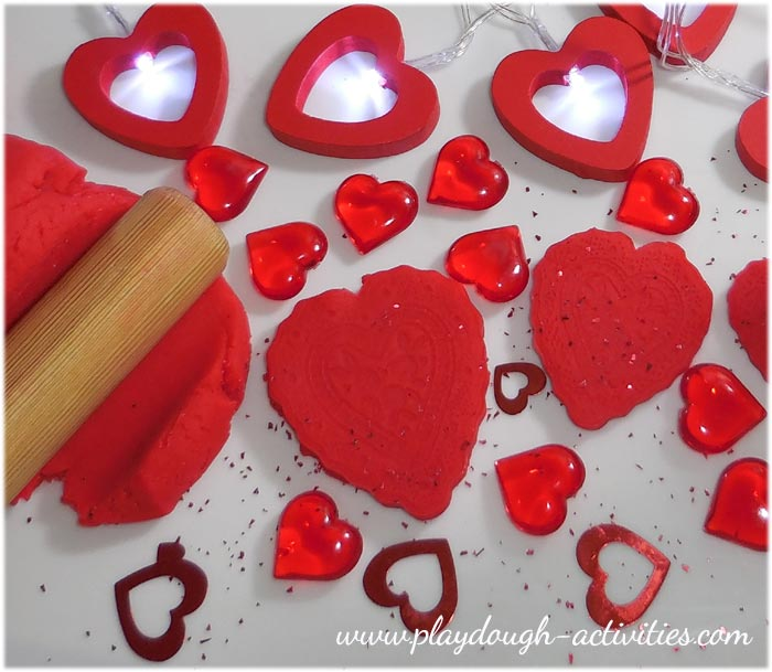 Red heart playdough activity collage for Valentine's Day