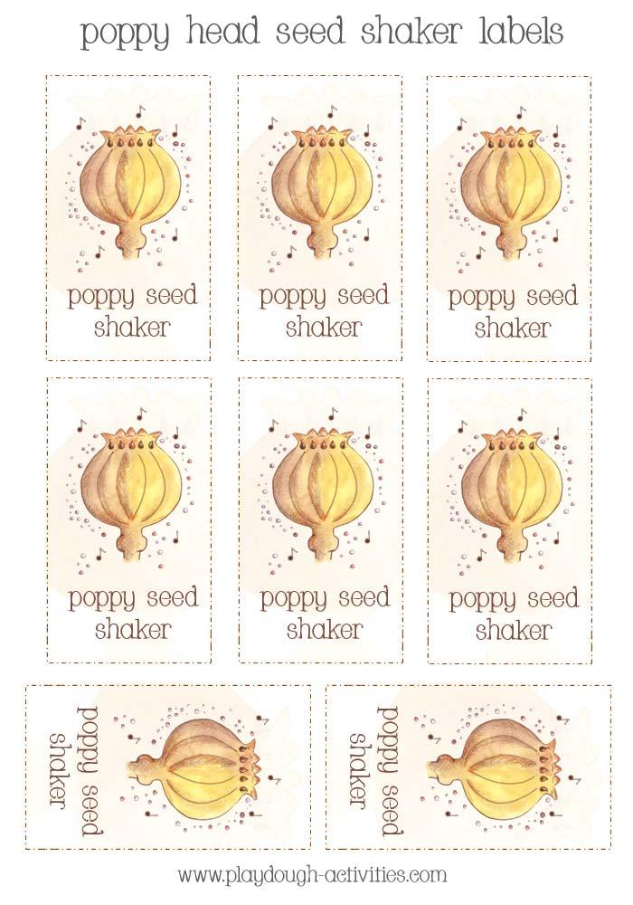 Poppy seed head shaker labels