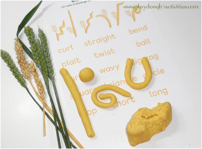 PLaydough shapes activity sheet - harvest wheat