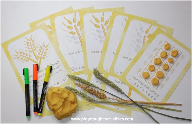Wheat grain themed counting mats for preschool aged children
