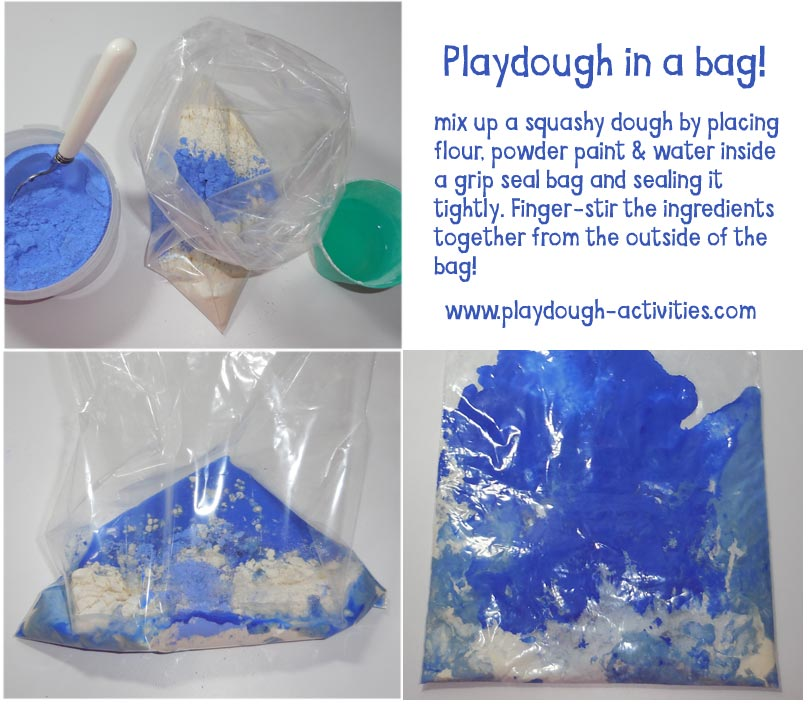 Mix and squash a bag of flour, paint & water to make a clean no mess dough!